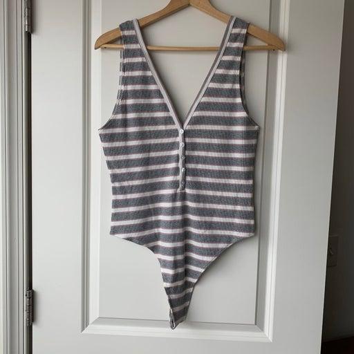 American Apparel Striped V-Neck Bodysuit
