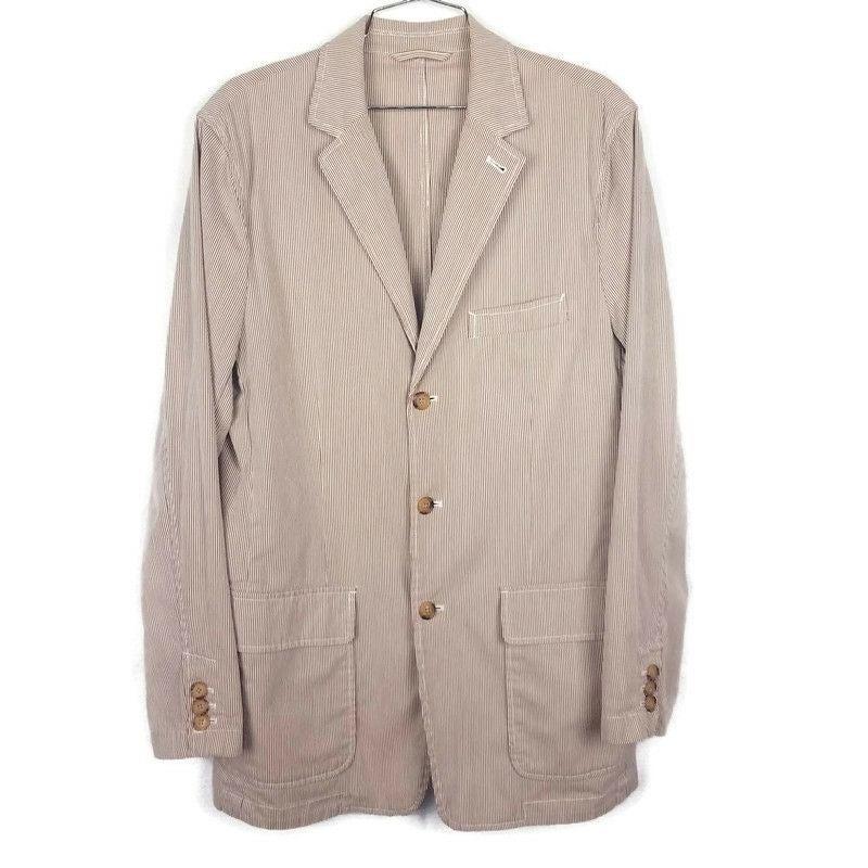 J.Crew Brown beige striped blazer sz M
