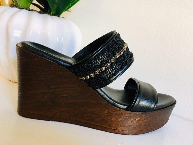 Black Wedge Sandals (7M)