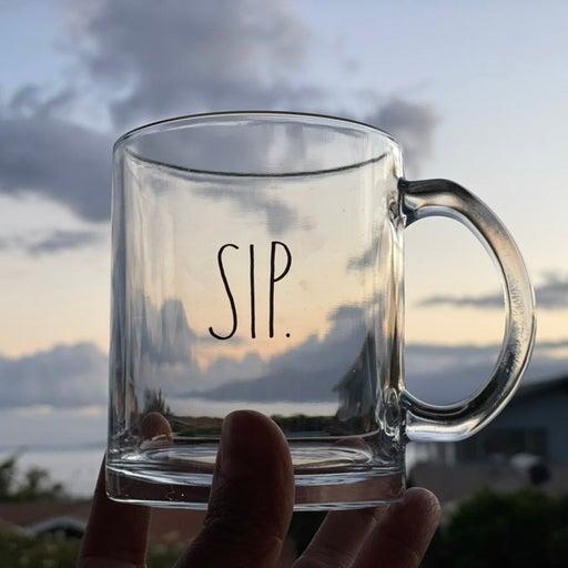 Rae Dunn SIP Glass Mug