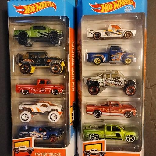 2 Hot Wheels Trucks 5 packs