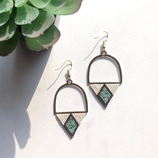Modern Earrings / cream&turquoise