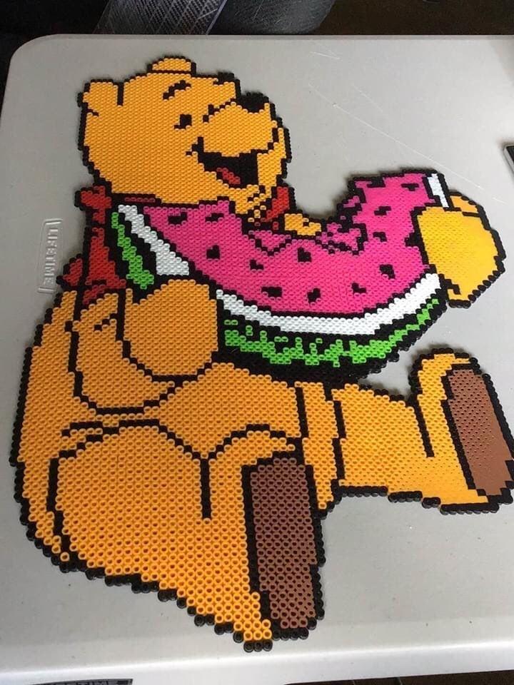 Giant hand made Winnie the Pooh
