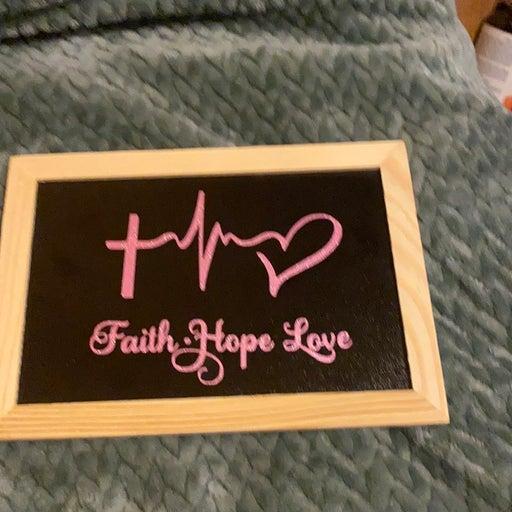 Faith hope love wood sign