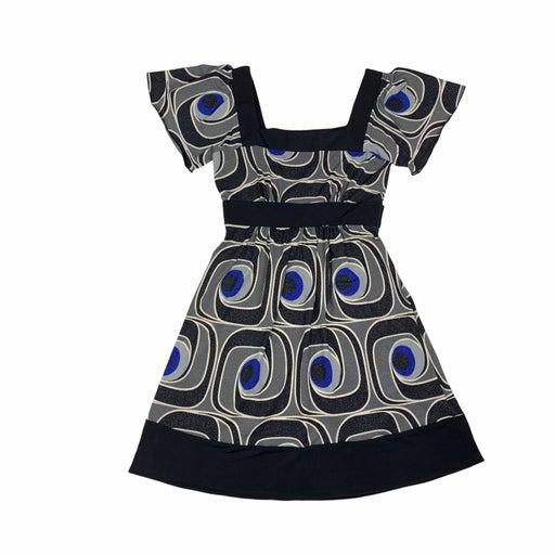 BCX Geometric Swirl Tie Waist Dress