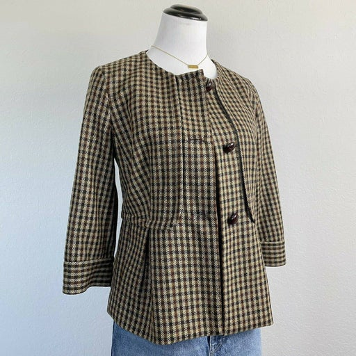 Talbots Brown Plaid 3/4 Sleeve Jacket Size 6