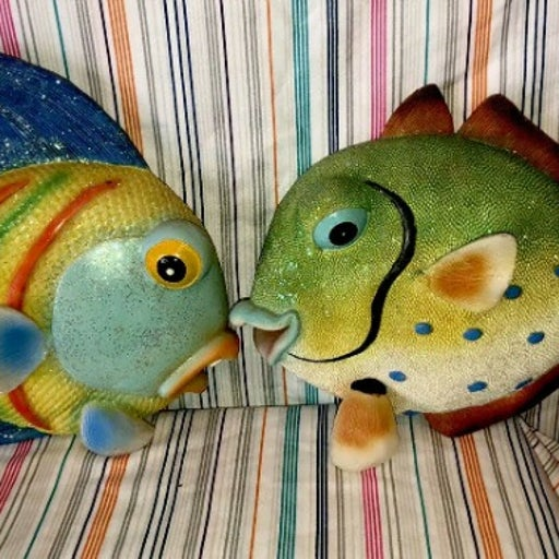 """Huge Wall Hanging Fish Figurines 10 And 11"""" Long Vintage Look"""