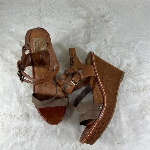 Dolce Vita Chestnut Brown Leather Wedge Sandal Size 10 Heel