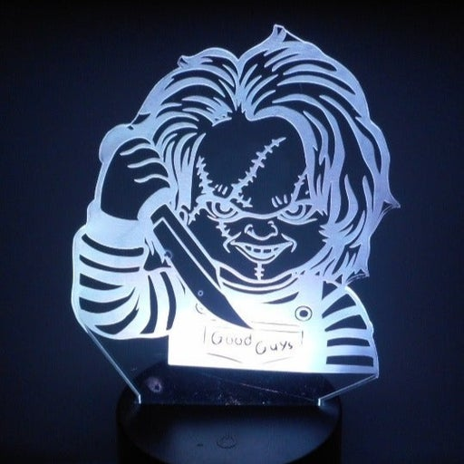 """Child's Play Horror Movie Chucky 6.5"""" Bust Laser Engraved 3D Acrylic Night Lamp"""