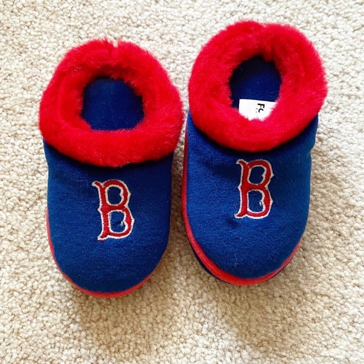 Baby red & blue Boston Red Sox slippers
