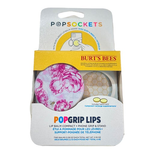 PopGrip Lips X Burt's Bees Pink Peony Popsocket Plus 1 Refill
