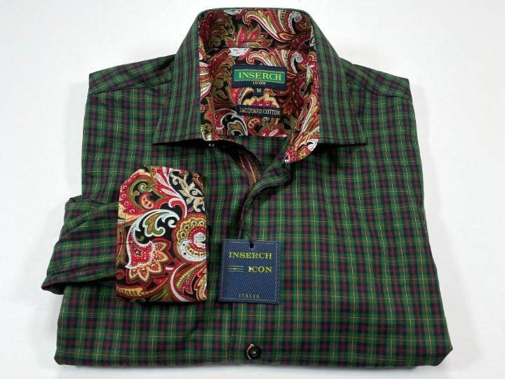 Inserch M Green Red Plaid Paisley
