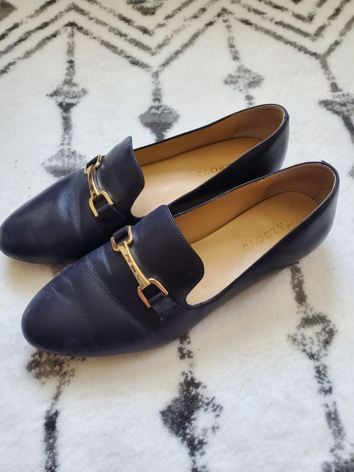 Talbots blue loafer and gold buckle