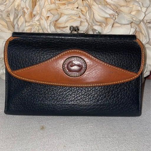 Vintage Dooney & Bourke Checkbook Wallet Black Dark Brown Clutch.