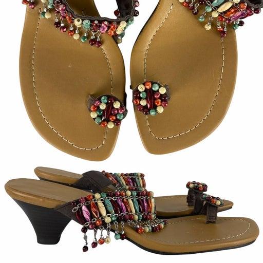 ANN MARINO Beaded Heeled Sandals | 7