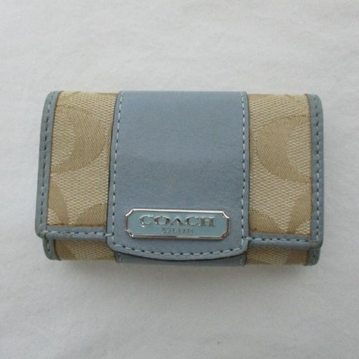 Coach Vtg Leather & Canvas Key Wallet
