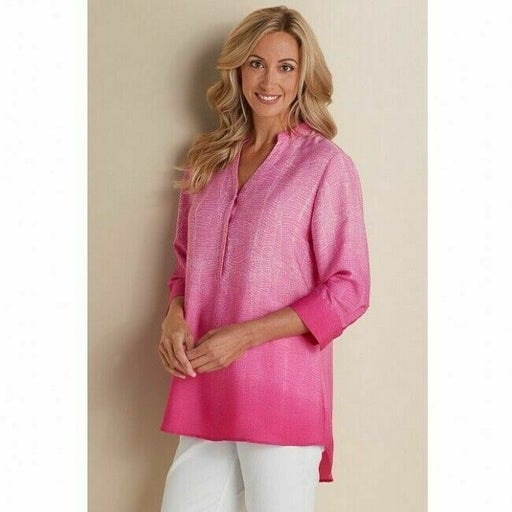 Soft Surroundings Brigitte Pink White Ombre Tunic V-neck 3/4 Sleeve Size Small S