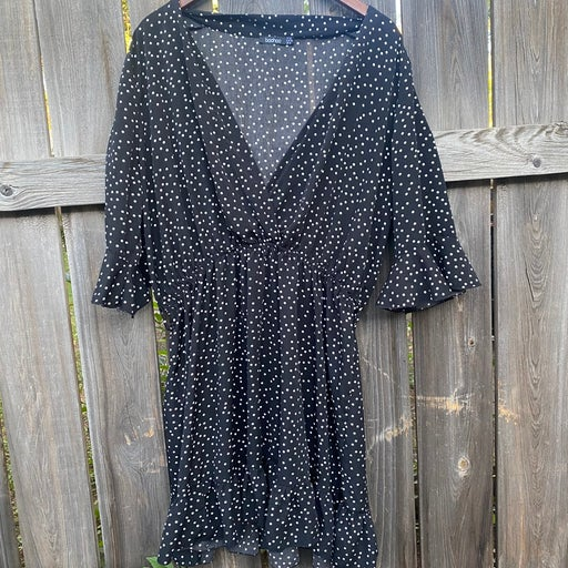 boohoo black and white polka-dot dress