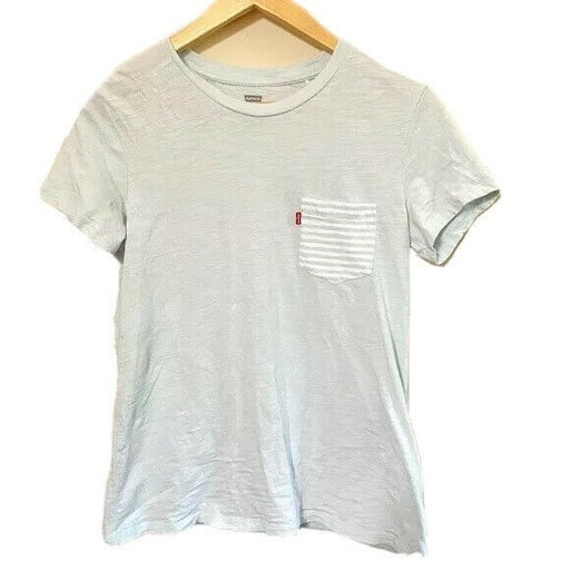 Levi's Women's Perfect Crew Neck Short Sleeve Top Blue & White Size Small
