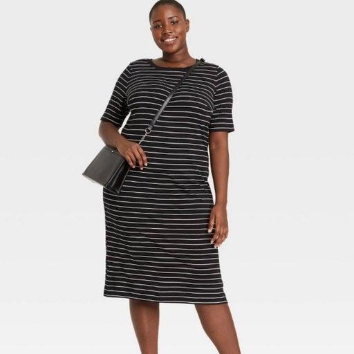 NWT Target Ava & Viv Black White Striped Short Sleeve Tee shirt Dress SZ 4X  Cre