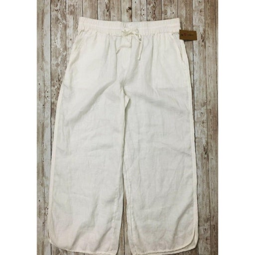 Cremieux MED White Linen Cropped Pants