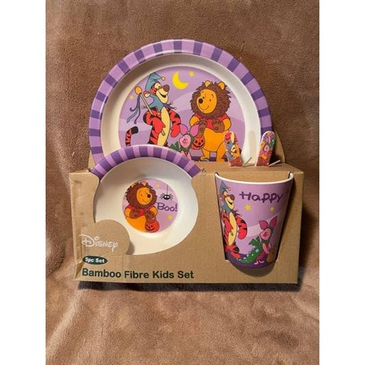 Winnie the Pooh Halloween Kids Bamboo 5pc Dinnerware Set