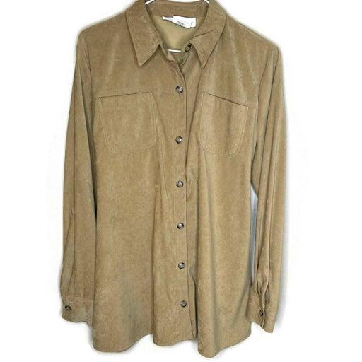 Motherhood women's maternity top medium button down blouse taupe brown