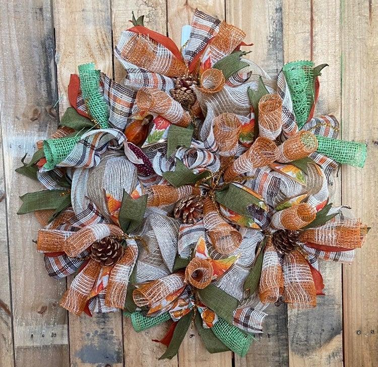 Fall wreath for front door/Farmhouse wre