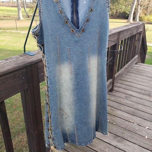 Western denim studded dress medium
