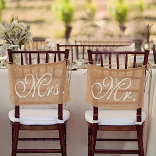 Burlap Rustic Wedding Chair Banners Sign