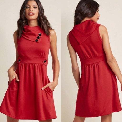Modcloth Coach Tour dress in rouge