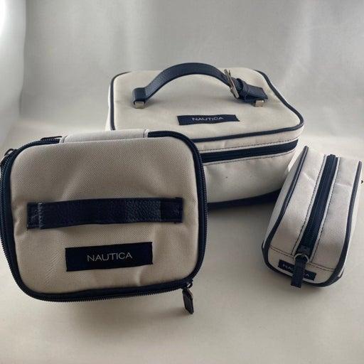 Three piece Nautica traveling kit, make