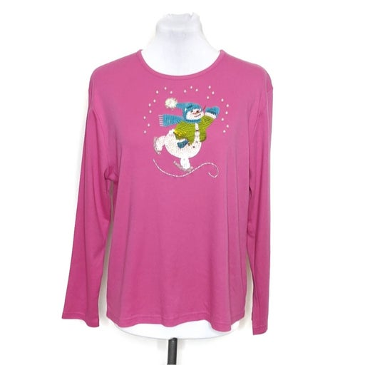 Crystal Kobe Snowman Sequined Shirt Pink
