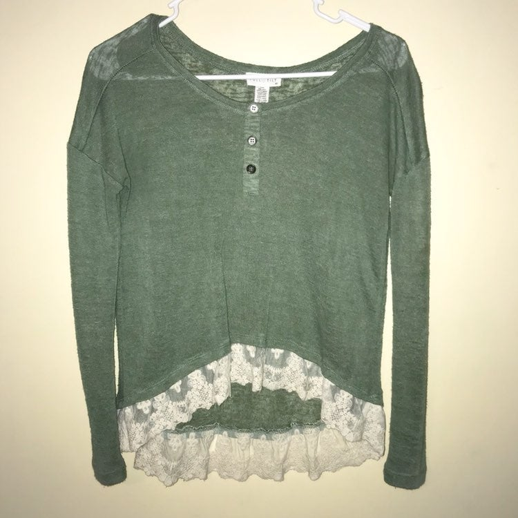 Green Henley with Lace
