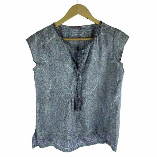 Calypso St. Barth Silk Printed Blouse Gray Purple Size XS