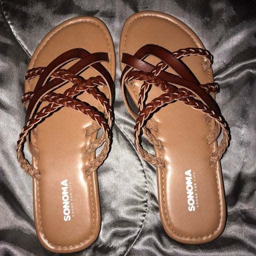 Brown Strappy Sandals 8