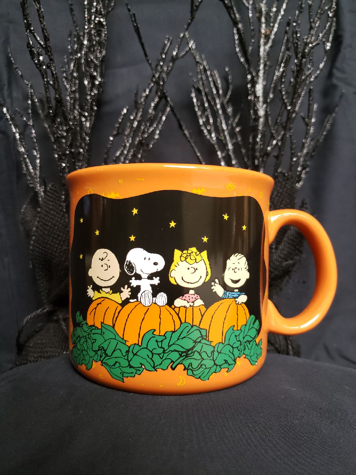 SNOOPY Great Pumpkin Believer Halloween Black Coffee Mug NWT Peanuts