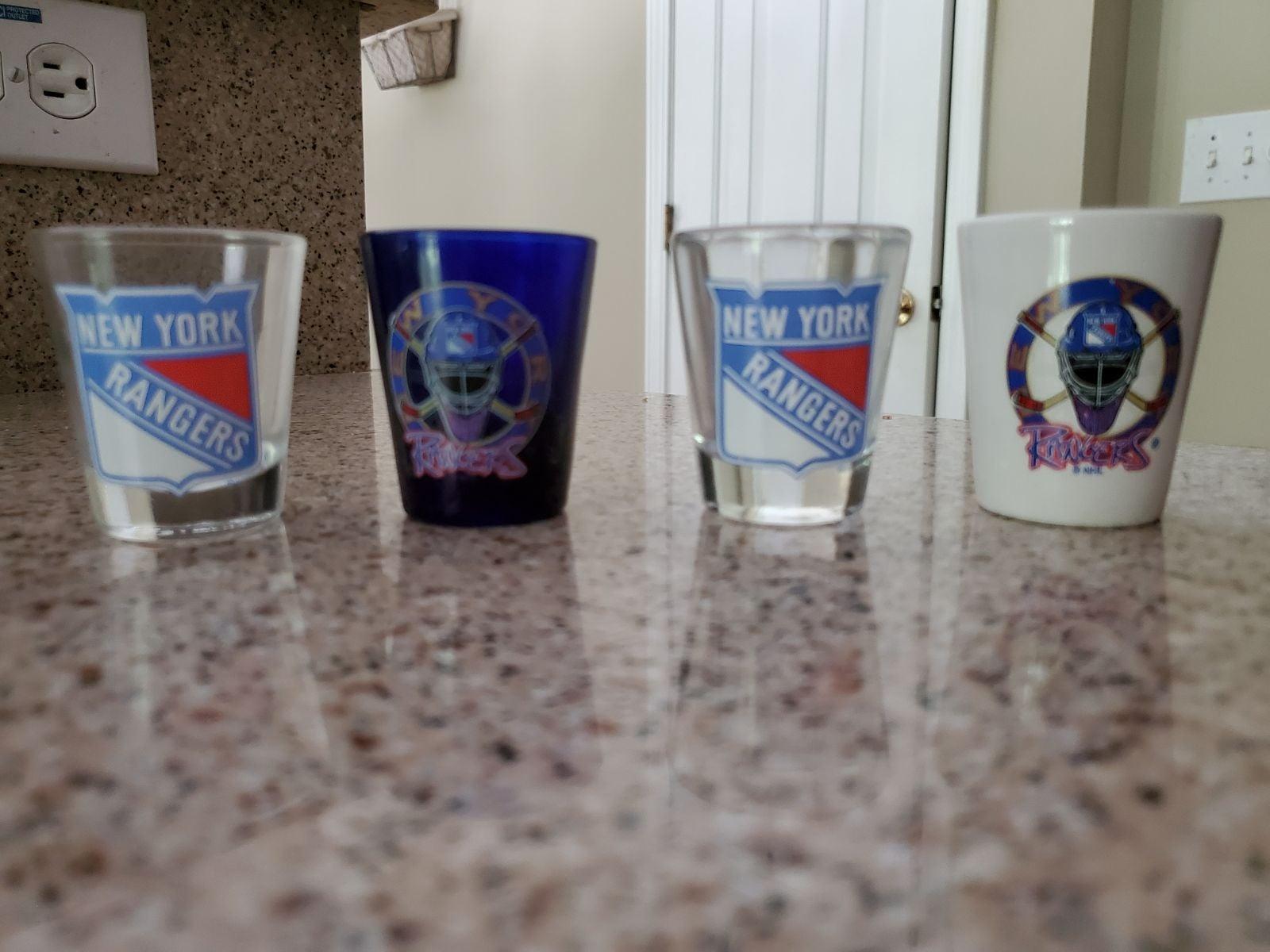 NY Rangers shot glasses