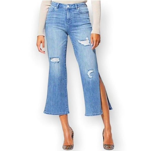 New York & Co Soho High Waisted Wide Leg Cropped Jeans Women's Size 4 Pre owned